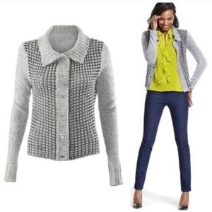 CAbi Gray Square Stitch Snap Front Cardigan